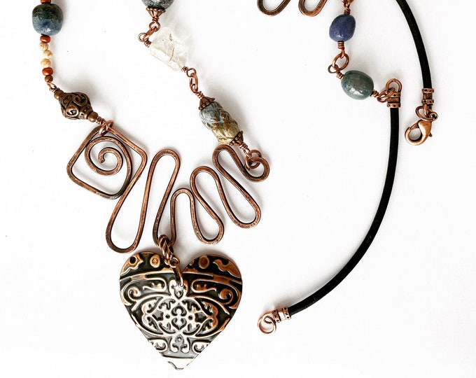 Copper Heart Pendant Beaded Necklace