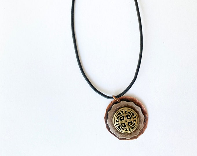 Copper, Coins and Buttons Pendant