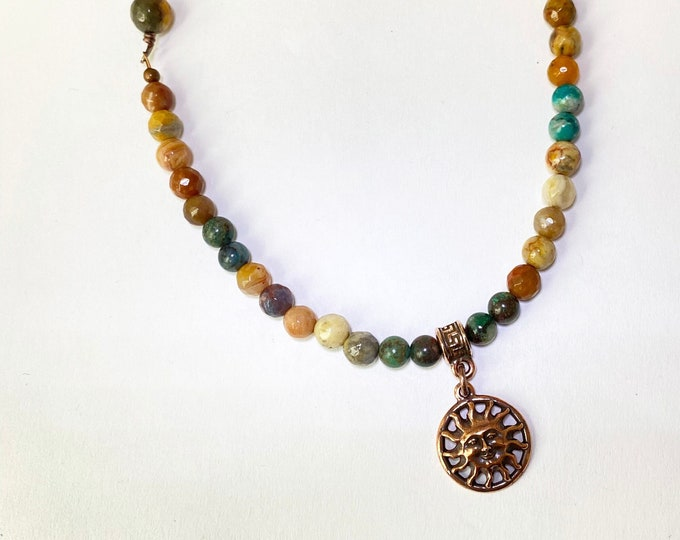 Crazy Lace Agate, Turquoise and Leather with Copper Sun