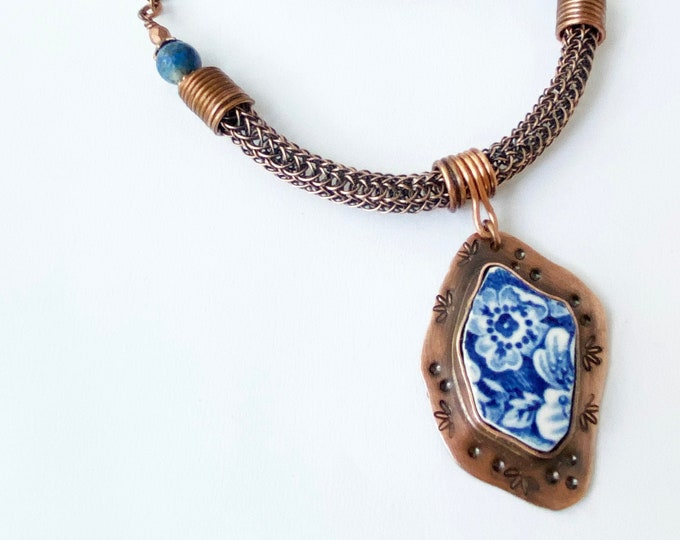 Blue Porcelain China Pendant, Viking Knit and Leather Necklace