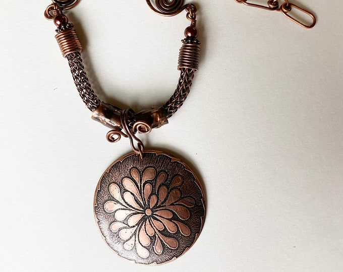 Metal Etched Copper Pendant with Viking Knit and Handmade Copper Chain