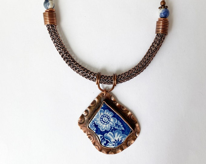 Broken China Dish Pendant, Viking Knit and Leather Necklace