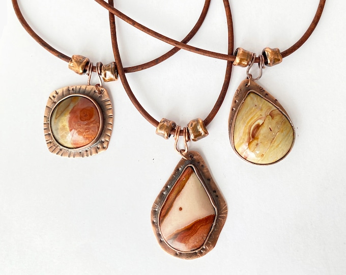 Jasper Pendant  with Copper Bezel and Leather Necklace