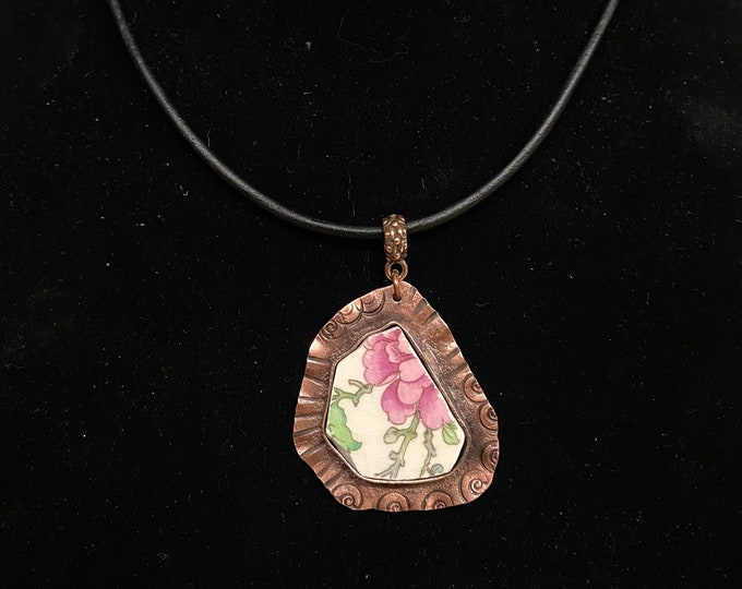 "Pink Flower ""Broken China"" Pendant Necklace"