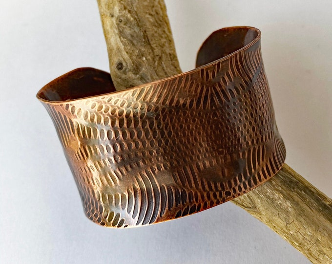 Moire Patterned Copper Cuff