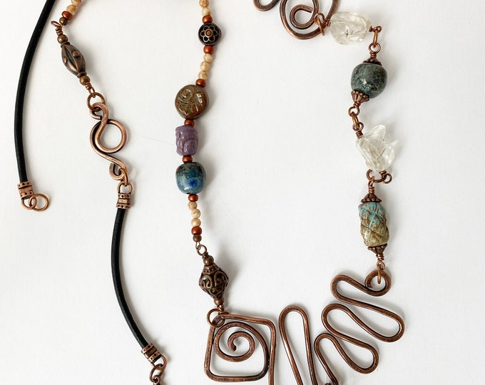 Copper Etched Pendant Beaded Necklace