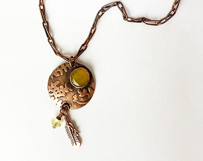Handcrafted Copper Chain & Pendant with Lemon Quartz