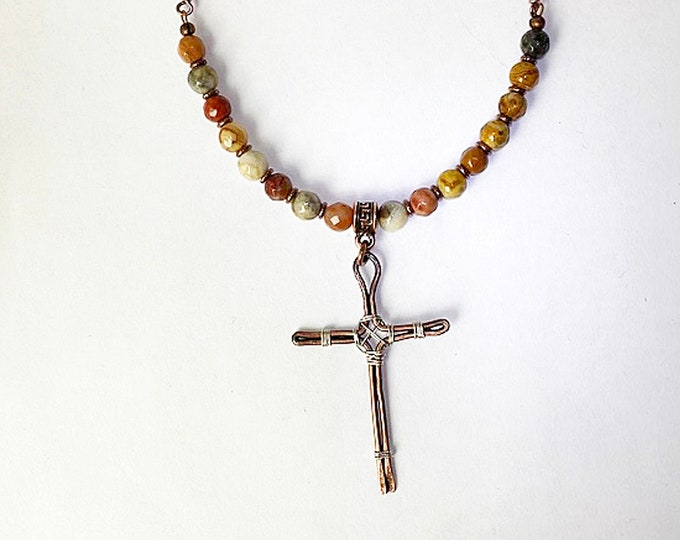 Copper and Sterling Wire Cross Agate Beaded Necklace