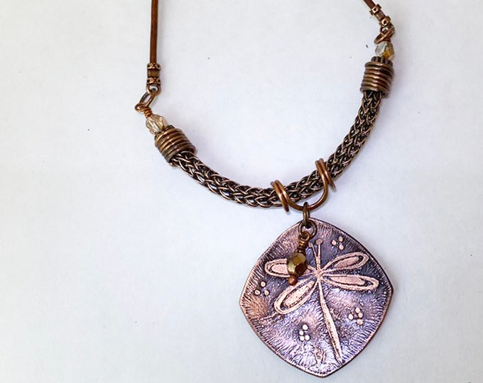Etched Copper Dragonfly Pendant Leather Necklace