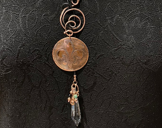 Etched Copper Fleur de Lis Lariat with Vintage Glass Prism, Turquoise and Onyx
