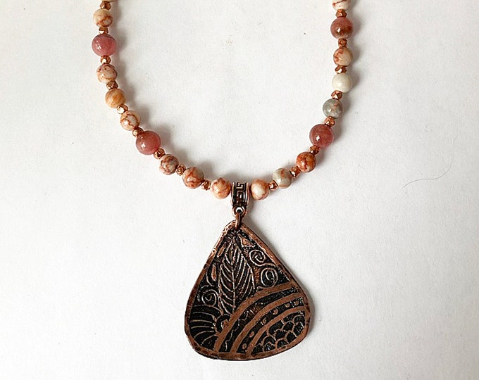 Shades of Peach and Pink Beaded Necklace with Etched Pendant