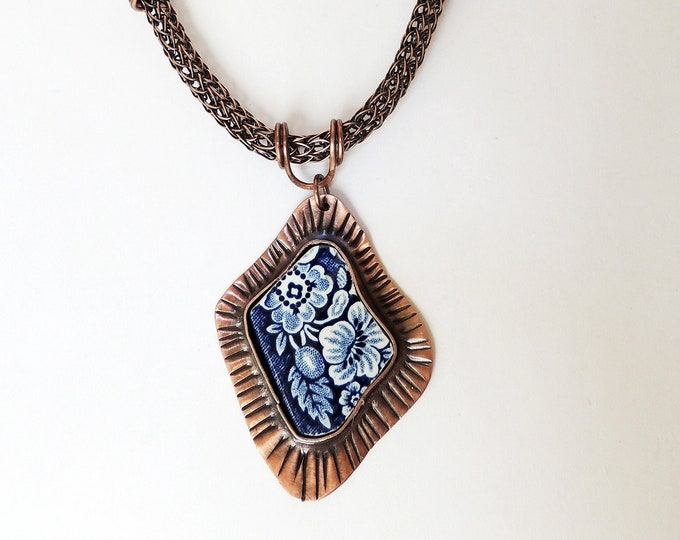 Blue Broken China Pendant Handmade Chain & Viking Knit