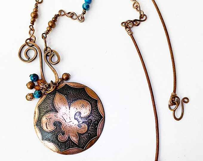 Fleur de Lis Pendant Handmade Beaded Chain Necklace