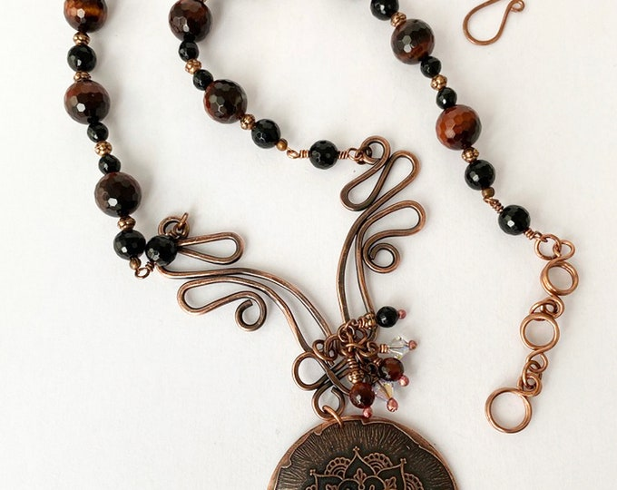 Copper Mandala Pendant with Red Tiger Eye and Onyx Beaded Necklace
