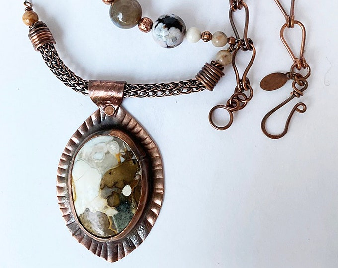 Eagle Eye Agate Pendant and Beaded Necklace with Leather Handmade