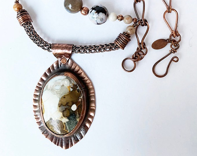 Eagle Eye Agate Pendant and Beaded Necklace with Handmade Chain