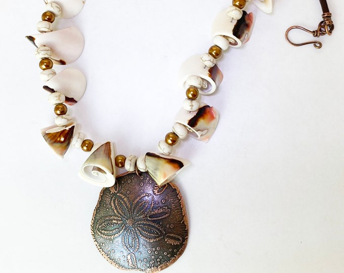 Copper Sand Dollar Pendant and Seashell Necklace Handmade