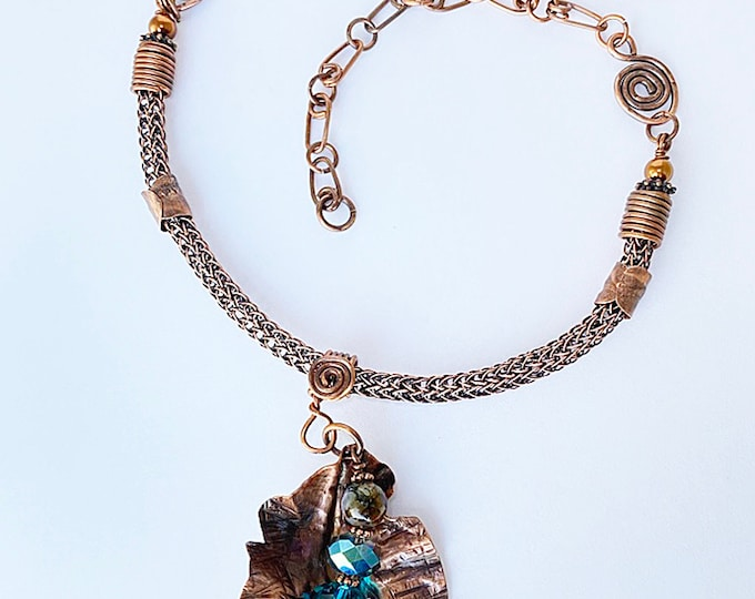 Shades of Teal and Copper Pendant Necklace