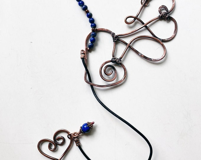 Wired Copper Heart Lariat with Leather and Lapis Lazuli