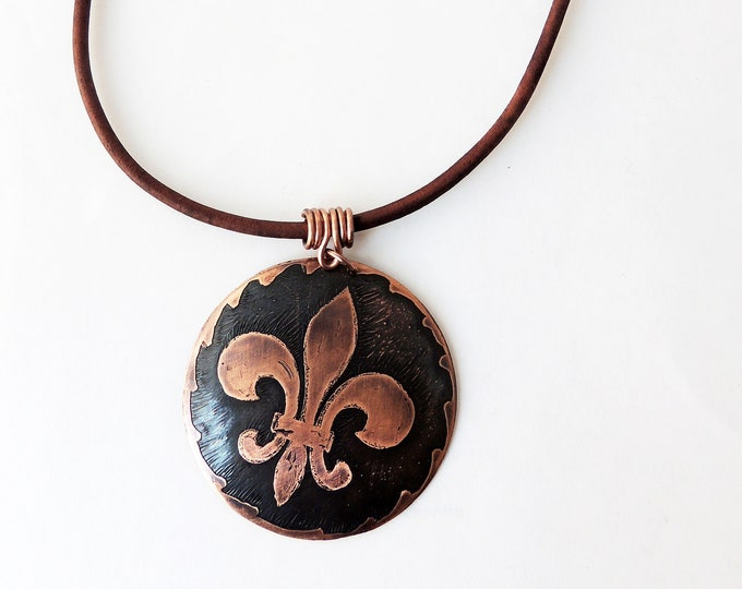 Fleur de Lis Copper Pendant