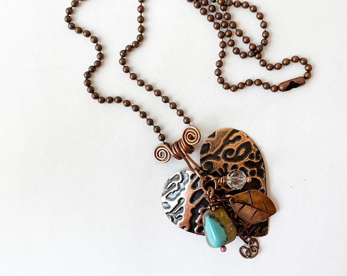 Textured Copper Heart Turquoise, Glass, Ball Chain Handmade