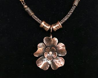 Copper Viking Knit and Leather Necklace with Hammered Copper Flower Pendant