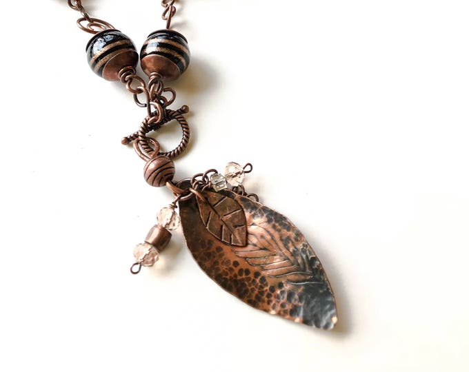 Copper Wired Textured Pendant with Leather and Handmade Chain