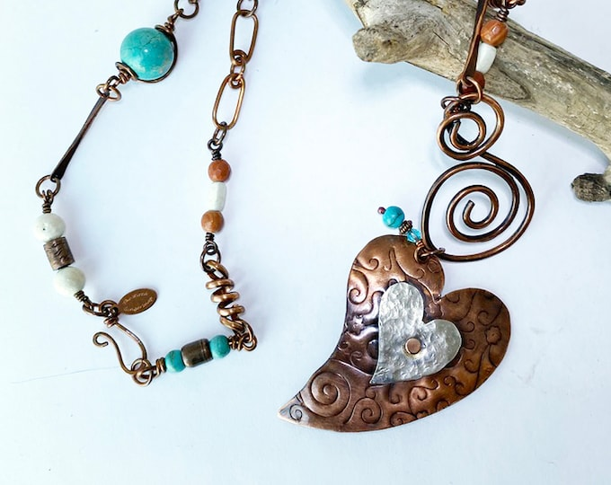 Sterling Silver/Copper Heart Pendant with Handmade Copper Beaded Chain
