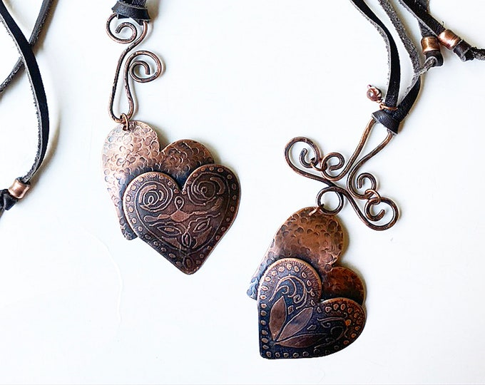 Leather Necklace with Handmade Bail Etched and Hammered Hearts
