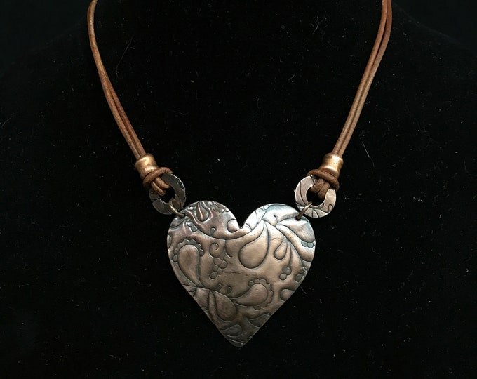 Copper Heart & Leather Necklace