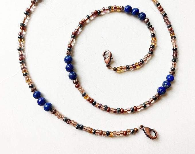 Lapis Lazuli and Glass Beaded Facemask Lanyard