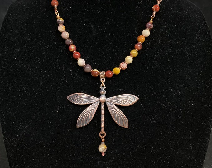 Agate & Copper Dragonfly Necklace
