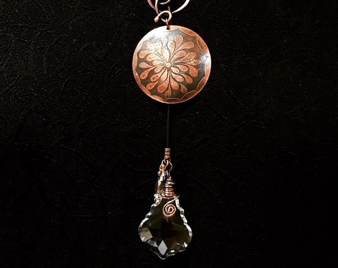 Etched Copper Pendant Wired Bail Beaded Lariat with Leather and Wired Vintage Prism