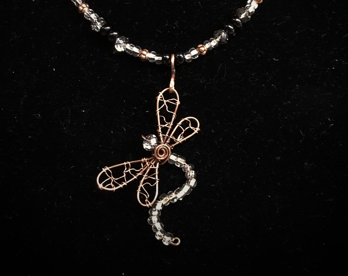 Wire Dragonfly Pendant Necklace
