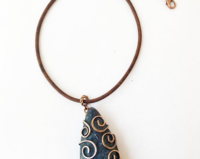 Raw Lapis Lazuli Copper Wired Pendant and Leather Necklace