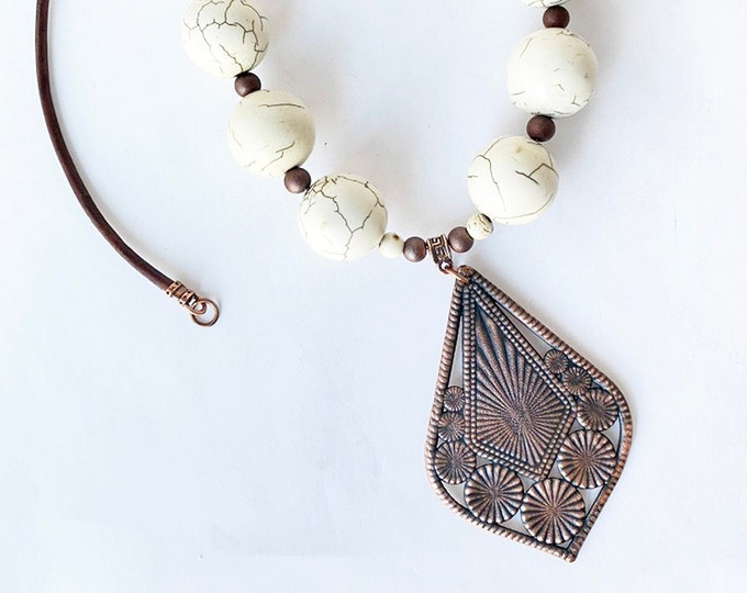 Ivory Beaded Necklace with Leather and Electro Form Pendant