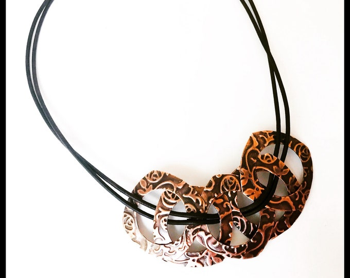 Circles & Squares Copper Textured Bibb Necklace with Leather