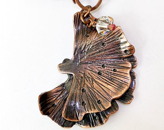 Gingko Leaf Pendant Necklace Handmade