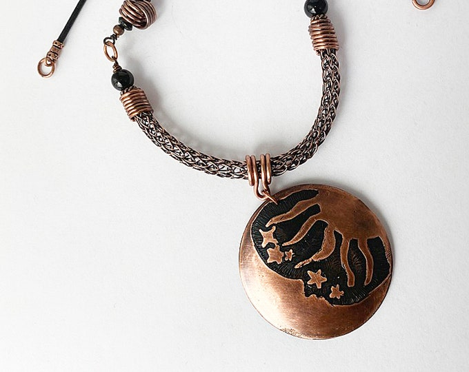 Etched Copper Moon & Sun Pendant with Viking Knit and Leather