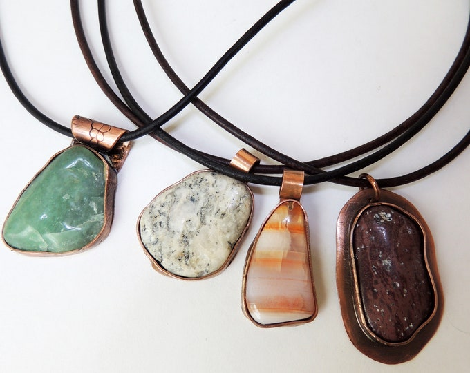 Tumbled Stone Pendants & Leather Necklaces