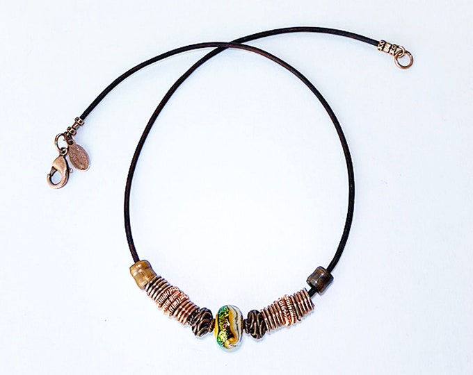 Handmade Copper Beads with Lampwork Focal Bead
