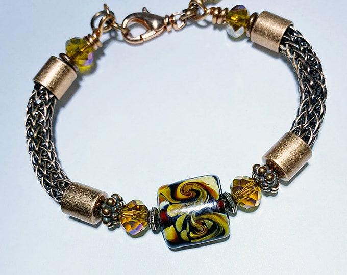Beaded Copper Viking Knit Bracelet Handmade