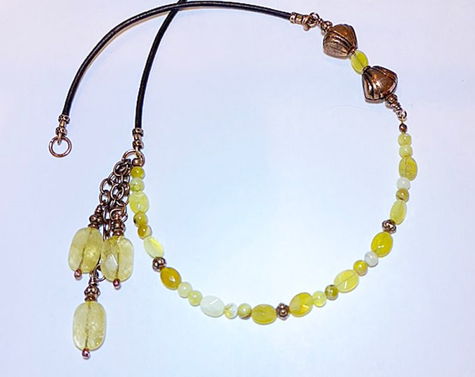 Lemon Opal Beaded Necklace with Leather