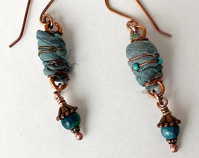 Sari Silk Beads, Blue Apatite and Copper Earrings Handmade