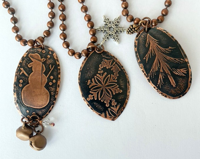 Copper Holiday Necklace Handmade