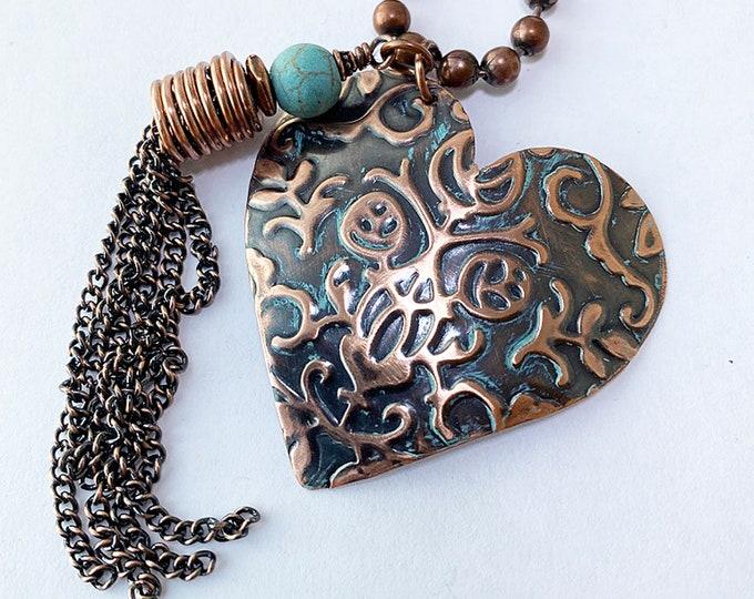 Heart Pendant Copper Textured Handmade
