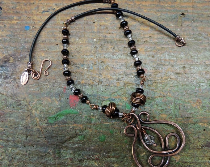 Onyx & Crystal Beaded Copper Necklace