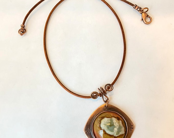 Rustic Jasper Pendant with Leather