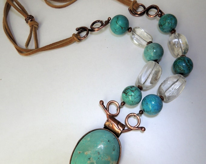 Howlite, Quartz & Leather Necklace