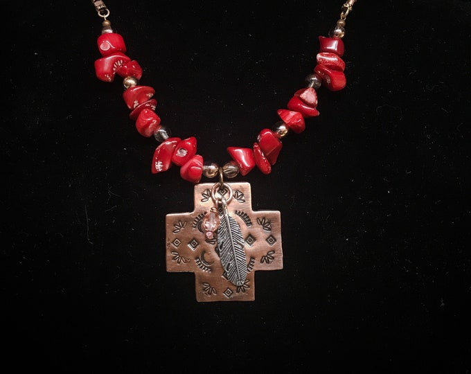 Southwest Cross Pendant Coral & Glass Beaded Handmade